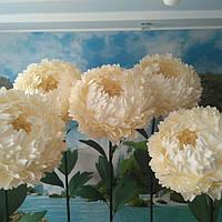 Пион белый на стойке. Большие ростовые цветы из изолона.