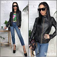 Куртка женская стильная кожаная с карманами разные цвета Gv920, фото 1