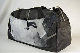 """Спортивна дорожня сумка чорно-сіра """"Паркур"""" 34 л. / Велика сумка спортивна, дорожня чорно-сіра"""