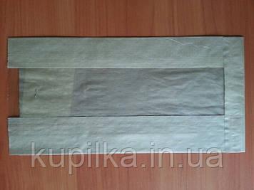 Бумажный пакет с прозрачной вставкой 290х140х50/60 мм 67