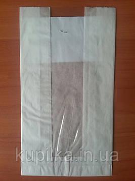 Бумажный пакет с прозрачной вставкой 220х120х50/40 мм 56