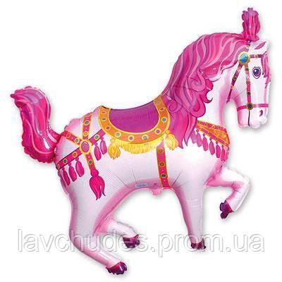 Гелиевый фольгированный шар  Цирковая лошадка (розовая). Гелиевые шары Киев, гелиевые фигуры. Шары Троещина.