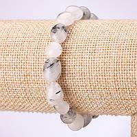 Браслет из натурального камня Кварц волосатик галтовка d-8мм на резинке обхват 18см