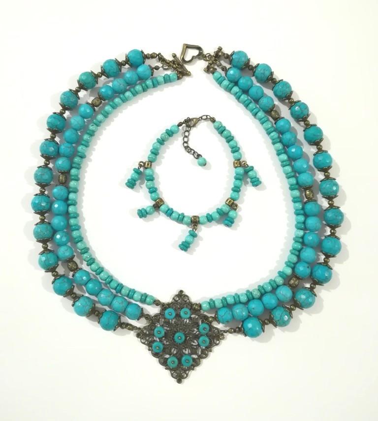 Комплект из Бирюзы Небесное величие колье + браслет, натуральный камень, тм Satori \ Sn - 0042