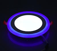 Светодиодный светильник синей подсветкой 6Вт 3+3W LM495 4500K круг