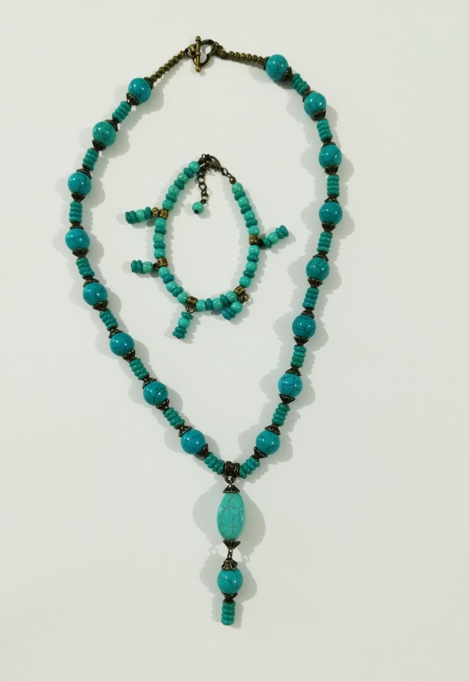 Набор из Бирюзы колье + браслет, натуральный камень, тм Satori \ Sn - 0043