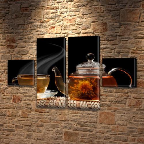 Модульная картина Китайский чай в прозрачном чайнике, 45x80 см, (18x18-2/45х18-2)