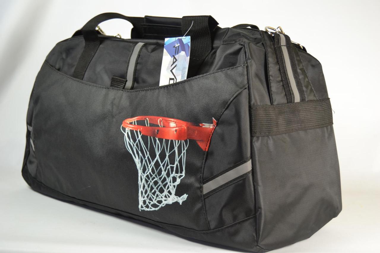 "Спортивна дорожня сумка чорна ""Баскетбольний кошик"" 34 л. / Большая сумка спортивная, дорожная черная"