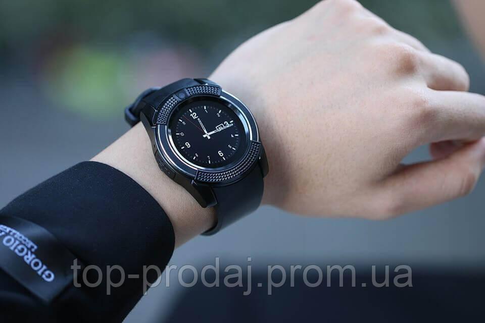 Smart Watch V8 черные, Наручные смарт часы, Умные чсы с блютуз и сим картой, Ударопрочные часы-телефон