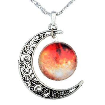 Кулон Галактика с луной оранжевая