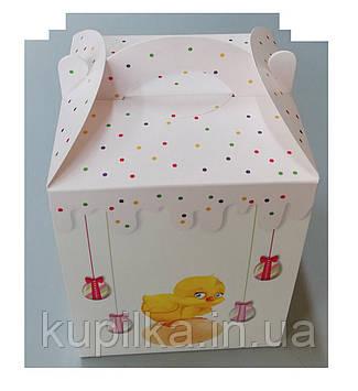 Коробка для пасхи, 170*170*210 мелованная с принтом