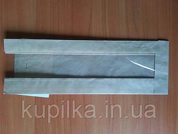 Бумажный пакет с прозрачной вставкой 290х90х50/40 мм 58
