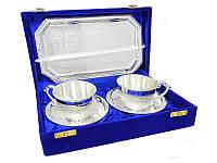 Набор подарочной посуды: 2 чашки с блюдцами и поднос