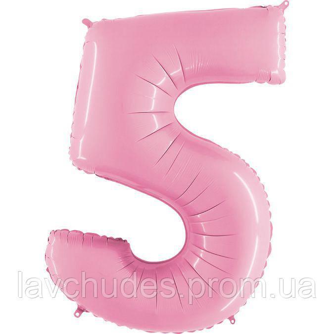 Фольгированная розовая цифра  5 - 100 см. Гелиевые шары. Гелиевые шары Киев. Гелиевые шары Троещина.