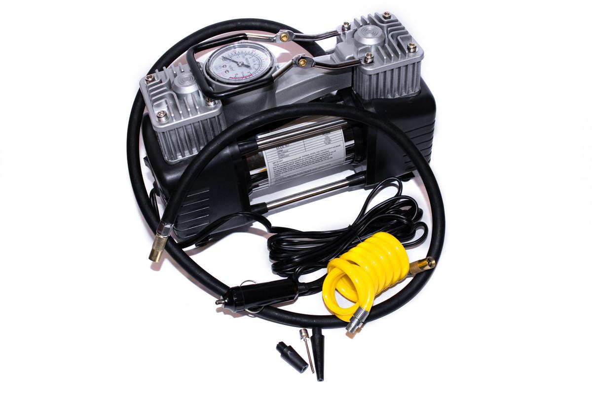 Компрессор автомобильный КВАНТ 13005A 12В двухпоршневой с аналоговым датчиком давления