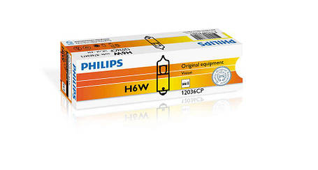 Автолампа ук. PHILIPS 12036 BLI2 H6W 12V 6W BAX9s 2 штуки на блистере, фото 2