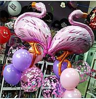 Композиция из гелиевых шариков Фламинго. Шары Фламинго.