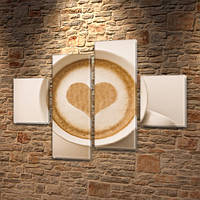 Модульная картина Сердце из пены кофе, на Холсте син., 65x80 см, (25x18-2/55х18-2), фото 1