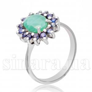 Серебряное кольцо с сапфиром и изумрудом 5252