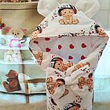 Демисезонный конверт на выписку Мишки, конверт- одеяло для новорожденного весна/лето/осень, фото 10