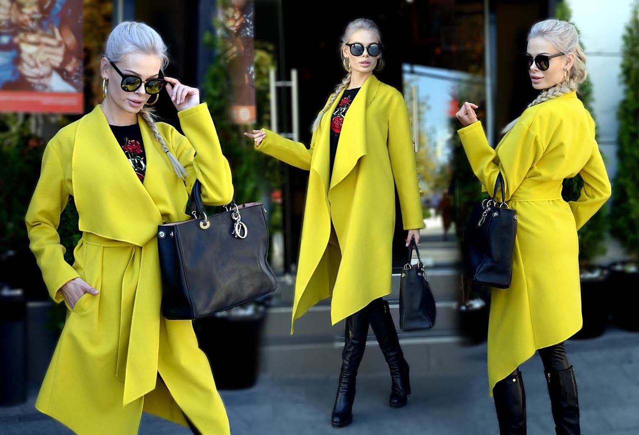 """Элегантное кашемировое женское удлинённое пальто-кардиган """"Классика Углы"""" в расцветках"""