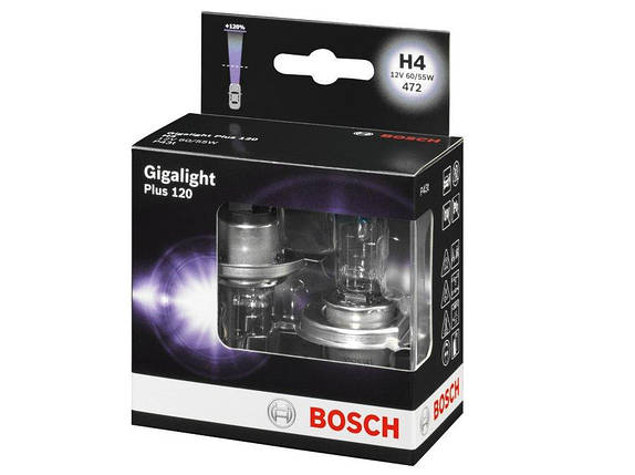 Автолампа BOSCH Gigalight Plus120 H4 60/55W 12V P43t (1987301106) 2шт./бокс, фото 2