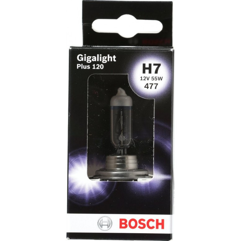 Автолампа BOSCH Gigalight Plus 120% H7 55W 12V PX26d (1987301170) 1шт./бокс