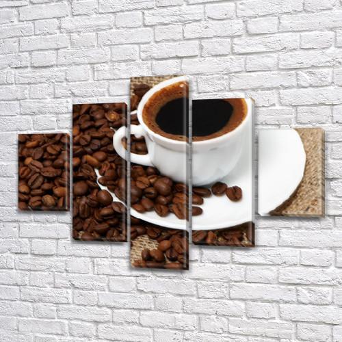 Модульная картина Зерна и чашка черного кофе, на Холсте син., 65x100 см, (25x18-2/45х18-2/80x18)