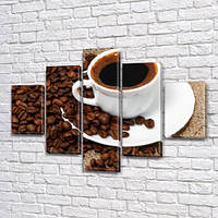 Модульная картина Зерна и чашка черного кофе, на Холсте син., 65x100 см, (25x18-2/45х18-2/80x18), фото 1
