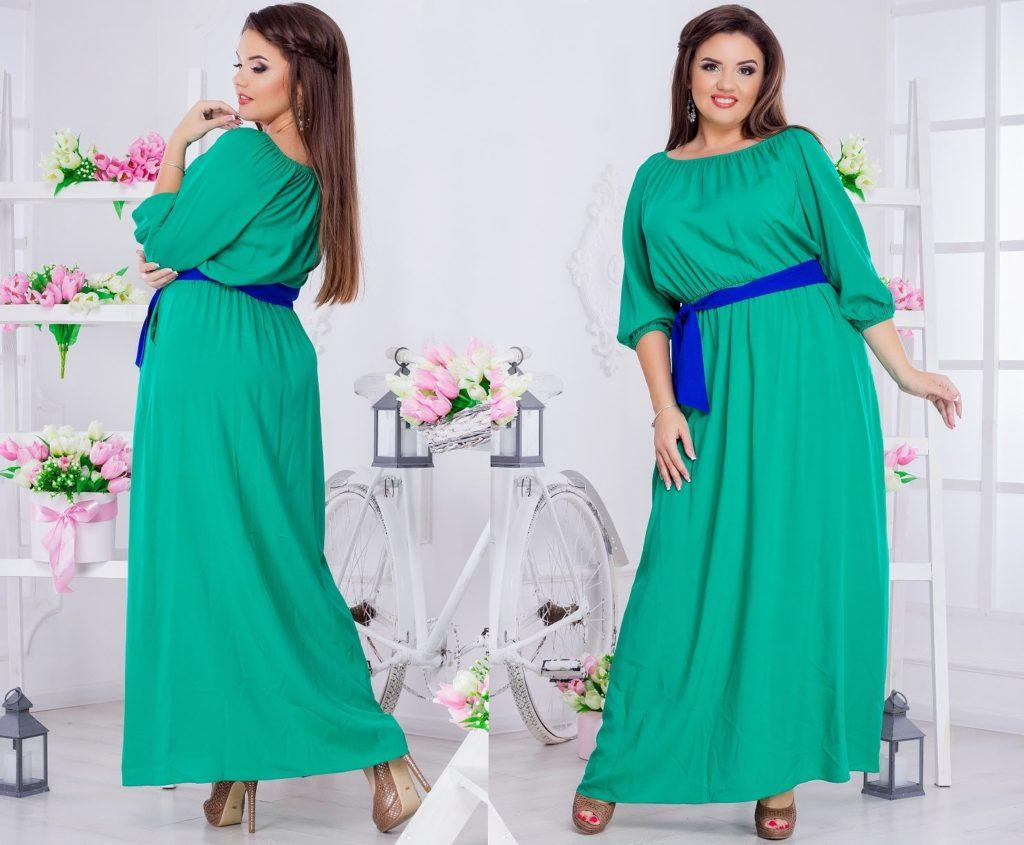Женское платье из штапеля цвета электрик с поясом 8114