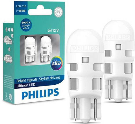 Автолампа диоды PHILIPS 11961ULWX2 T10 LED 6000K 12V B2, фото 2