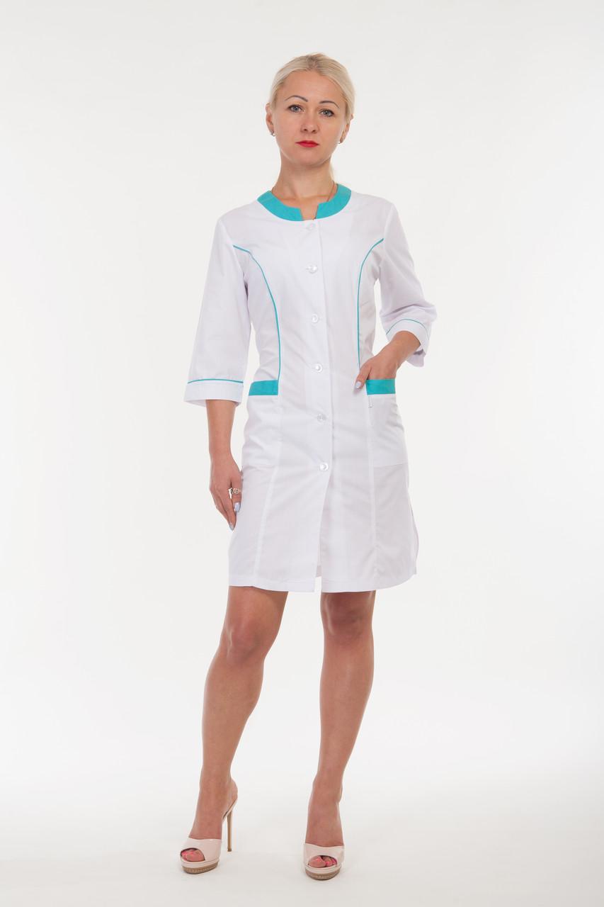 Медицинский халат женский белый с бирюзовыми вставками 2167 ( батист 40-60 р-р )