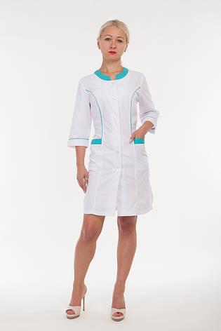 Медицинский халат женский белый с бирюзовыми вставками 2167 ( батист 40-60 р-р ), фото 2