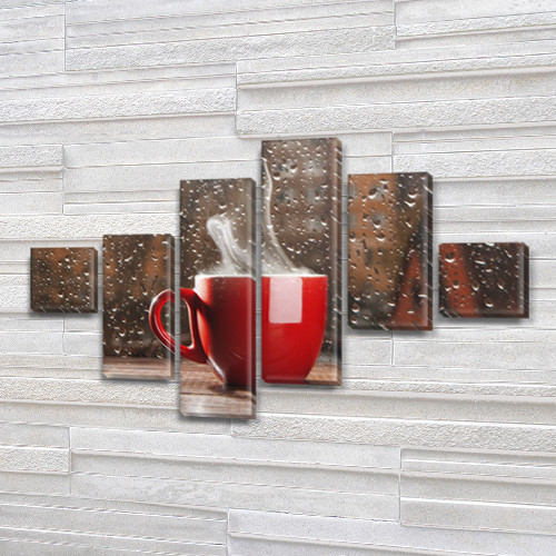 Модульная картина Чашка кофе и дождь за окном, на Холсте син., 75x120 см, (18x18-2/40х18-2/65x18-2)