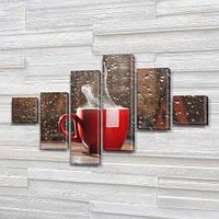 Модульная картина Чашка кофе и дождь за окном, на Холсте син., 75x120 см, (18x18-2/40х18-2/65x18-2), фото 1