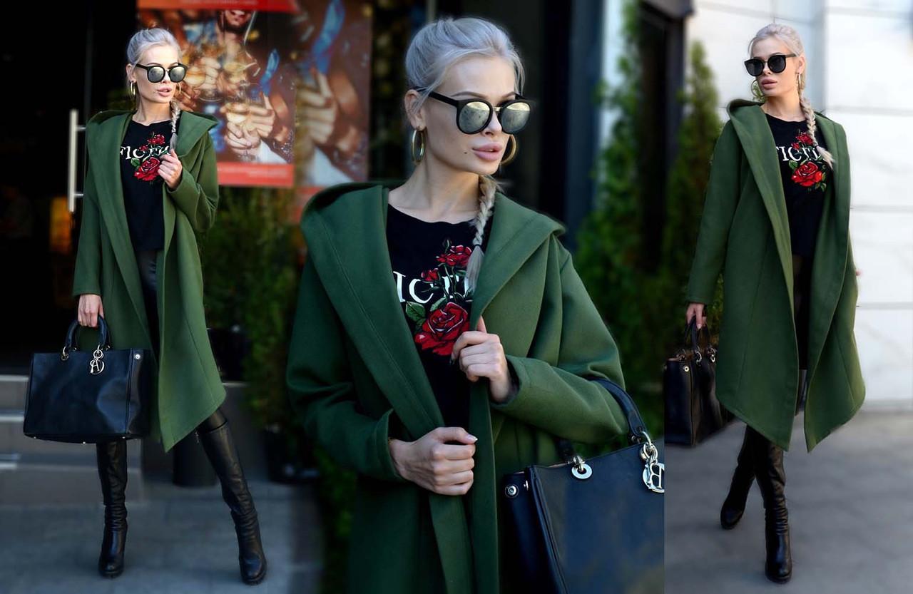 """Женское стильное кашемировое пальто-кардиган средней длины """"Капюшон"""" в расцветках"""