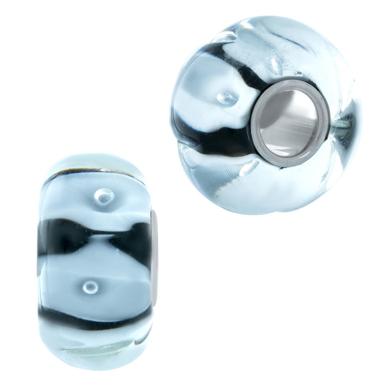 Родированный серебряный шарм 925 пробы с стеклом Мурано