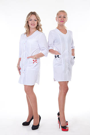Оригинальный женский медицинский халат с бантиками 2153 ( батист 42-50 р-р ), фото 2