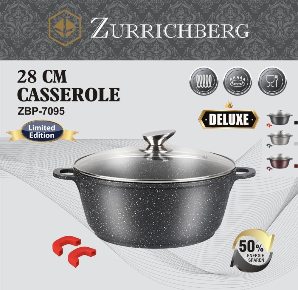 Мраморная качественная кастрюля ZURRICHBERG ZBP 7095 Deluxe 28 × 12 см с крышкой премиум класса кастрюля
