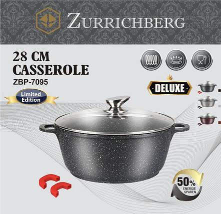 Мраморная качественная кастрюля ZURRICHBERG ZBP 7095 Deluxe 28 × 12 см с крышкой премиум класса кастрюля, фото 2