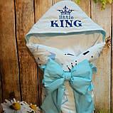 Конверт-ковдру на виписку з вишивкою Маленький Король, фото 2