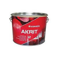 Eskaro Akrit 12 Белая 9,5 л износостойкая полуматовая краска для внутренних работ