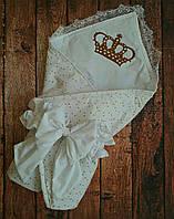 Конверт на выписку с вышивкой и кружевом  Звездочки, фото 1
