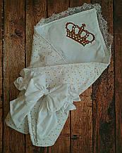 Конверт на выписку с вышивкой и кружевом  Звездочки