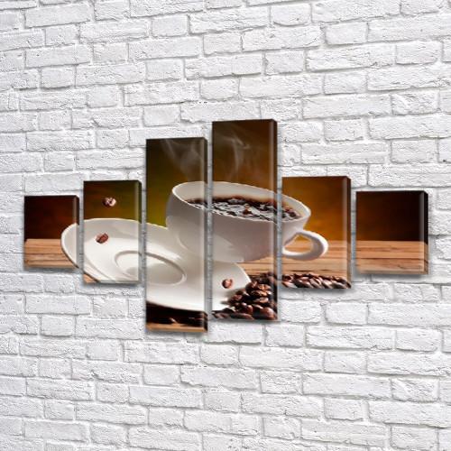 Модульная картина Кофе в полете (зерна, чашка) на Холсте син., 70x120 см, (25x18-2/35х18-2/65x18-2)