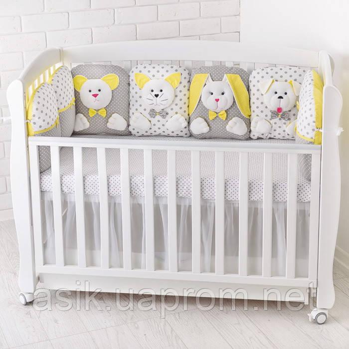 c1dd8c30099c Бортики-зверюшки и простынь в детскую кроватку ASIK жёлто-серого цвета -  Интернет-