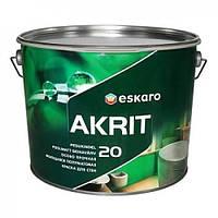 Eskaro Akrit 20 Белая 9,5 л особо прочная полуматовая краска для стен арт.6430011062188