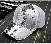 Бейсболка с двухсторонними пайетками - серебряная, фото 1