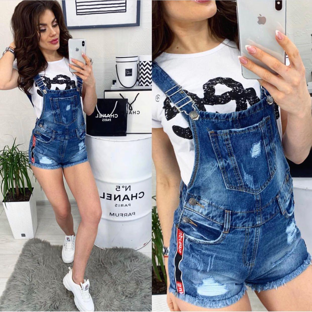 Комбинезон-шорты джинсовый женский с рванкой и царапками ( Y 0025-10 Relucky )