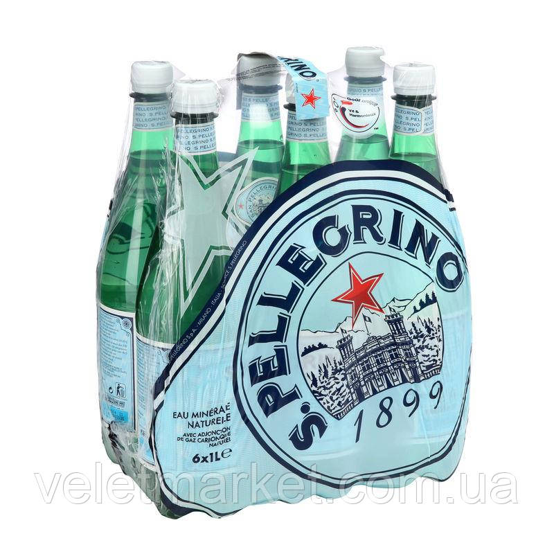 Упаковка минеральной лечебно-столовой газированной воды San Pellegrino 1 л х 6 шт